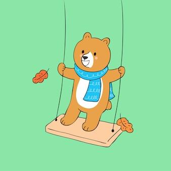 Vetor bonito do balanço do urso do outono dos desenhos animados.