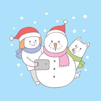 Vetor bonito do boneco de neve do selfie do menino e do cão do natal dos desenhos animados.
