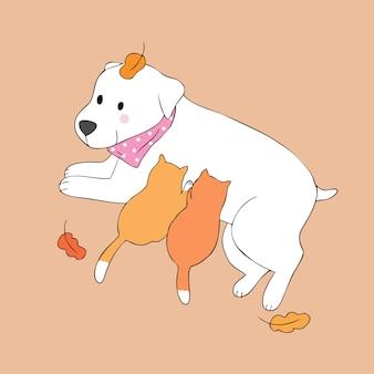 Vetor bonito do cão e do gatinho do outono dos desenhos animados.