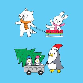 Vetor bonito do dia de natal dos animais do polo dos desenhos animados.