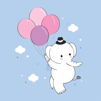 Vetor bonito do elefante e dos balões dos desenhos animados.