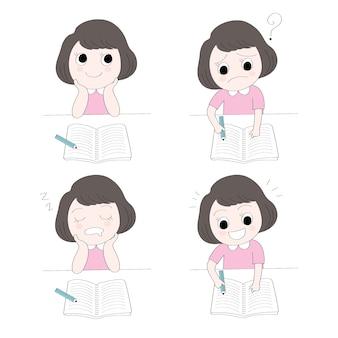 Vetor bonito do estudo da menina das ações dos desenhos animados.