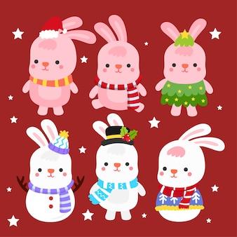 Vetor bonito do feliz natal dos coelhos dos desenhos animados.