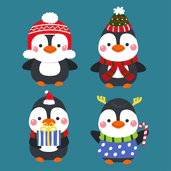 Vetor bonito do feliz natal dos pinguins dos desenhos animados.