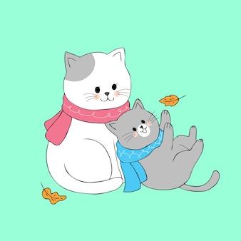 Vetor bonito do gato da mamã e do bebê dos desenhos animados.