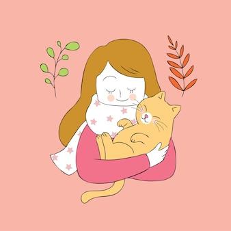 Vetor bonito do gato do abraço da mulher do outono dos desenhos animados.