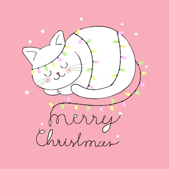 Vetor bonito do gato e da luz do natal dos desenhos animados.