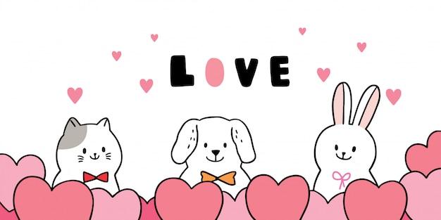 Vetor bonito do gato e do cão e do coelho e dos corações do dia de valentim dos desenhos animados.
