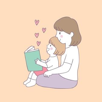 Vetor bonito do livro de leitura da mãe e da filha dos desenhos animados.