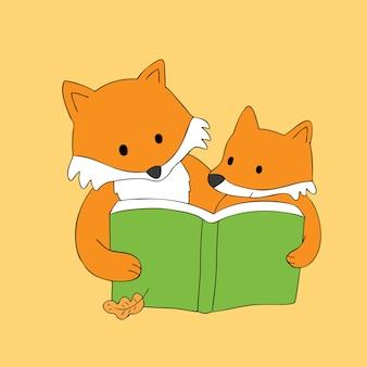 Vetor bonito do livro de leitura das raposas do outono dos desenhos animados.