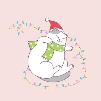 Vetor bonito do sono do gato do natal dos desenhos animados.