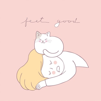 Vetor bonito do sono do gato e da mulher dos desenhos animados.