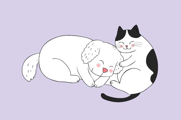 Vetor bonito do sono do gato e do cão dos desenhos animados.