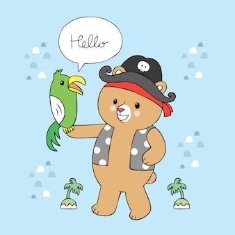 Vetor bonito do urso e do papagaio do pirata dos desenhos animados.