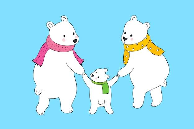 Vetor bonito do urso polar da família dos desenhos animados.