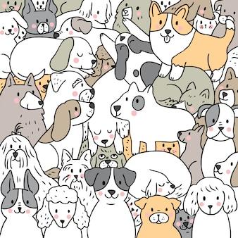 Vetor bonito dos cães do doodle dos desenhos animados.