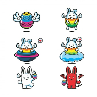 Vetor bonito dos desenhos animados da cor do arco-íris de easter bunny
