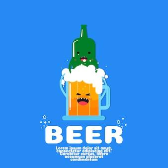 Vetor bonito dos desenhos animados da garrafa e da cerveja. conceito de comida kawaii.