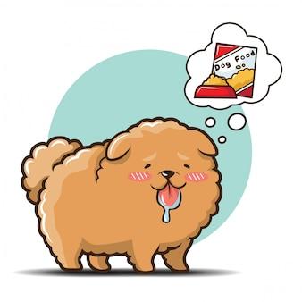 Vetor bonito dos desenhos animados do cão de chowchow.