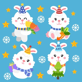 Vetor bonito dos desenhos animados dos coelhos dos desenhos animados.