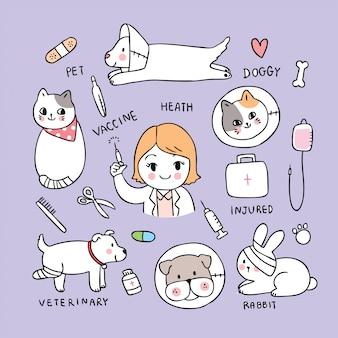 Vetor bonito dos desenhos animados gato e cão e veterinária da mulher.