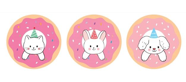 Vetor bonito dos desenhos animados gato e coelho e cão e morango e donut.