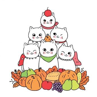 Vetor bonito dos desenhos animados, gato e frutas.
