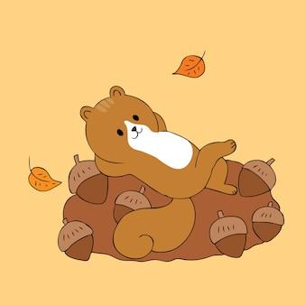 Vetor bonito dos esquilos e dos carvalhos dos desenhos animados.