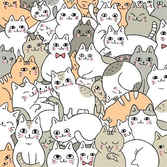 Vetor bonito dos gatos da garatuja dos desenhos animados.