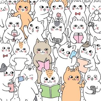 Vetor bonito dos gatos do estilo de vida da garatuja dos desenhos animados.
