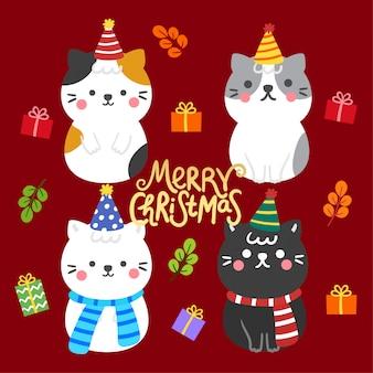Vetor bonito dos gatos e das caixas de presente do natal dos desenhos animados.