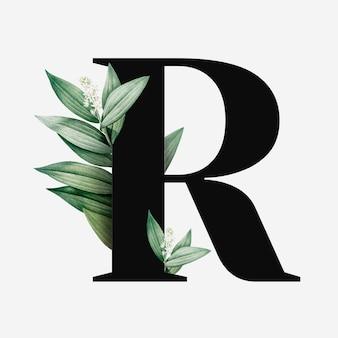 Vetor botânico de letra r maiúscula