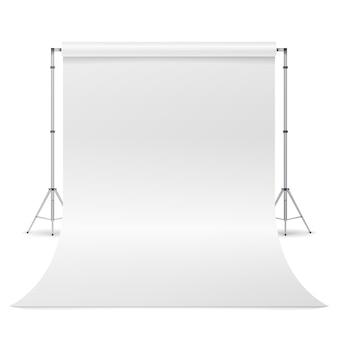 Vetor branco do estúdio da foto. contexto branco vazio da lona. fotógrafo realista estúdio isolado ilustração