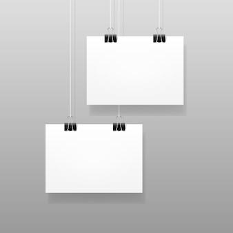 Vetor branco papel parede branco cartaz maquete modelo quadro design