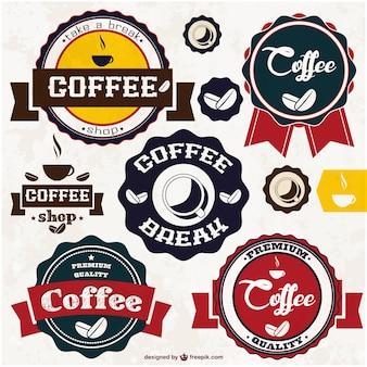 Vetor café adesivos Vetor Premium