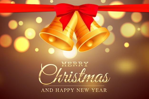 Vetor cartão de felicitações de natal e ano novo com sinos e luzes de natal modelo de banner da web