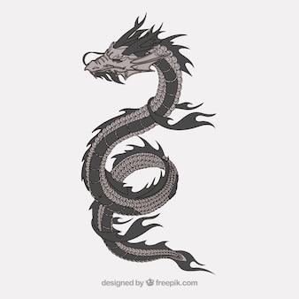 Vetor chama japonês horrível dragão