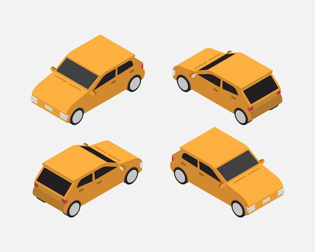 Vetor clássico isométrico de carro de cidade