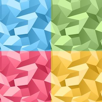 Vetor colorido sem costura 3d fundo abstrato de cristal amassado