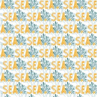 Vetor colorido sem costura repetindo padrão plano simples com a palavra algas e conchas do mar