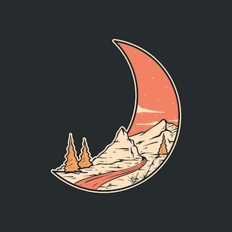 Vetor completo da ilustração das montanhas em forma de lua