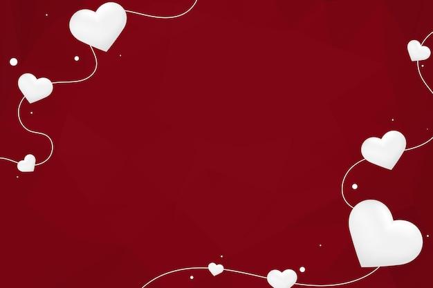 Vetor coração string borda padrão geométrico fundo vermelho