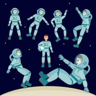 Vetor cosmonauta definir ilustração de personagem, cosmonauta em diferentes poses com diferentes expressões faciais no estilo cartoon.
