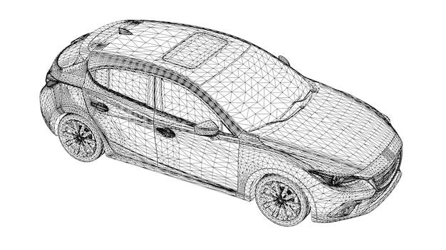 Vetor criativo abstrato 3d linhas de carros esportivos conectadas a pontos