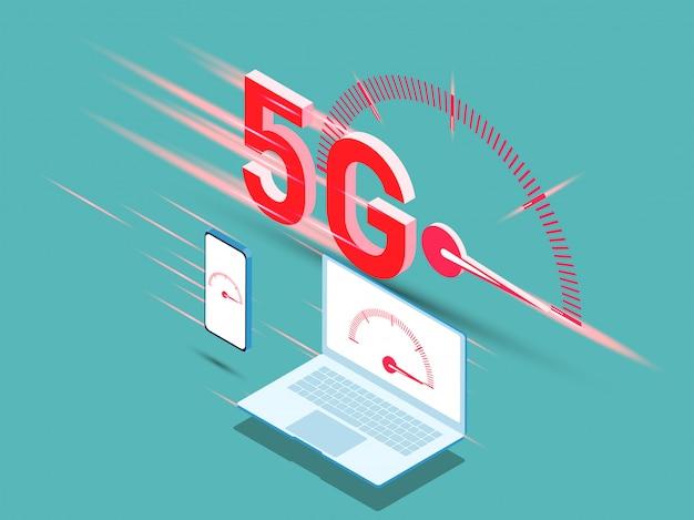 Vetor da 5a geração nova de conceito do internet, velocidade do internet da rede 5g sem fio.