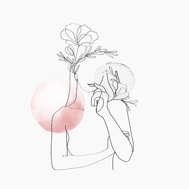 Vetor da arte da linha do corpo da mulher floral rosa pastel ilustração feminina