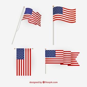 Vetor da bandeira americana. pontos de vista diferentes.