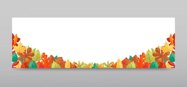 Vetor da bandeira do fundo das folhas de outono.