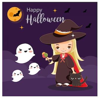 Vetor da bruxa bonito com conceito de halloween.