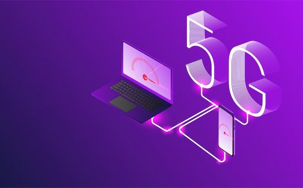 Vetor da geração 5g de conceito do internet, internet do internet da rede.